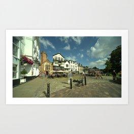 Exeter Shops on the Green Art Print