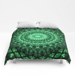 Mandala in different green tones Comforters
