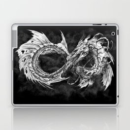 Ouroboros mythical snake on black cloudy background | Pencil Art, Black and White Laptop & iPad Skin