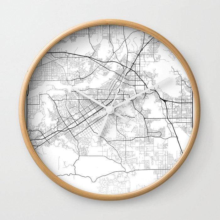 Minimal City Maps - Map Of Riverside, California, United States Wall Clock  by valsymot
