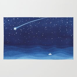Falling star, shooting star, sailboat ocean waves blue sea Rug