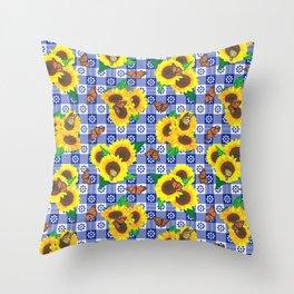 Sunflowers and Monarch Butterflies Gingham - Blue Throw Pillow