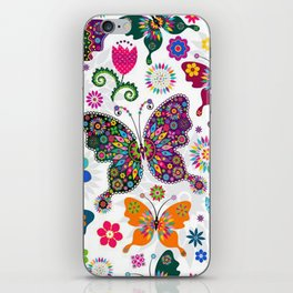 Colorful Butterflies and Flowers V3 iPhone Skin