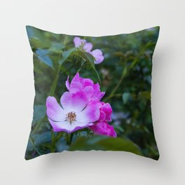 Summer pink wild flowers Throw Pillow
