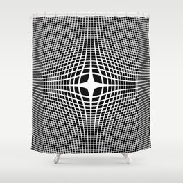 White On Black Convex Shower Curtain