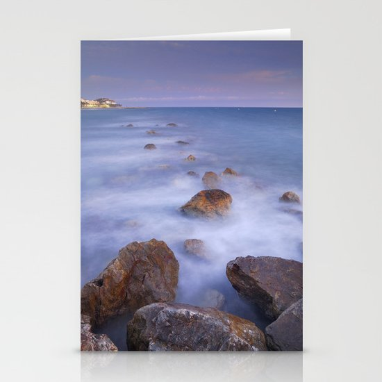 Blue sunset at the rocks Stationery Cards