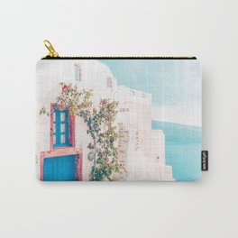Santorini Greece Cozy blush travel photography in hd. Carry-All Pouch