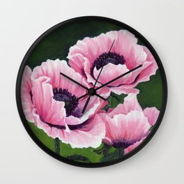 Pretty Pink Poppies Wall Clock
