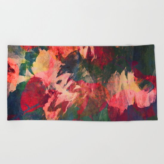 It's Complicated, Abstract Leaves Beach Towel