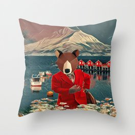 Mr. Bear from Norway Throw Pillow