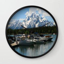 Pleasure Crafts on Jackson Lake Wall Clock