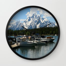 Pleasure Crafts on Jackson Lake Wall Clock