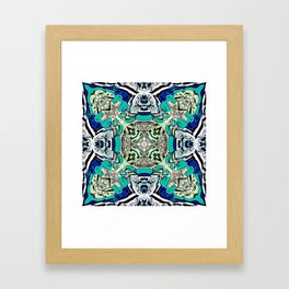 Abstract Turquoise Kaleidoscope Framed Art Print