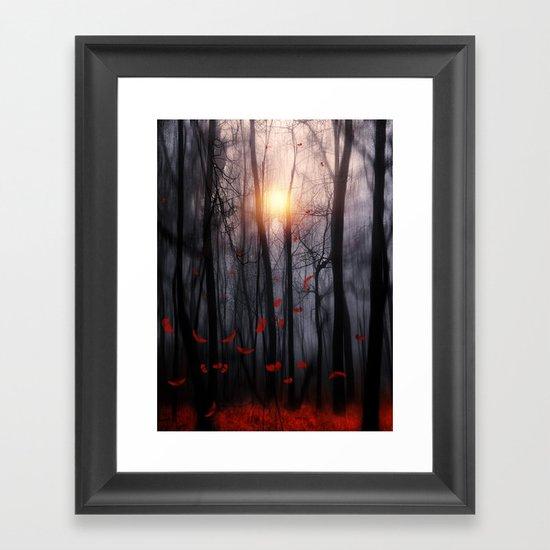 Red feather dance  -  by Viviana Gonzalez Framed Art Print