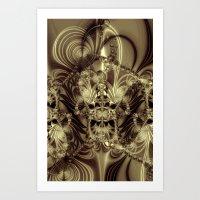 Biomechanoid 1 in gold Art Print