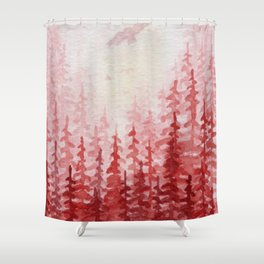 """Red Forest"" watercolor landscape painting Shower Curtain"