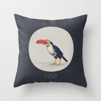toucan Throw Pillows featuring TOUCAN by Dinosaur Design