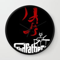 the godfather Wall Clocks featuring Godfather! The Animated Series by Miguel Roselló