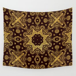 golden flowers on the brown background Wall Tapestry
