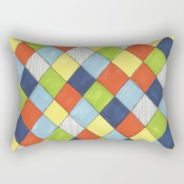 Doodle style bright hand drawn harlequin pattern. Rectangular Pillow