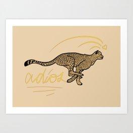 ADIOS CHEETAH modern graphic design Art Print