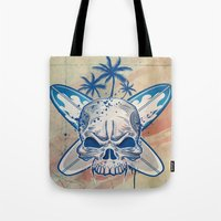 surfboard Tote Bags featuring skull on surfboard background by Doomko