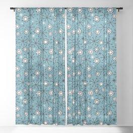 Mid Century blue Sheer Curtain