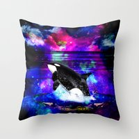 orca Throw Pillows featuring Orca by haroulita