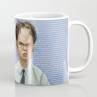 dwight schrute Mugs featuring Dwight by Richtoon