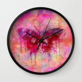 Artsy butterfly watercolor lllustration Wall Clock