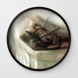 Coffee beans in glass jar - still life - fine art, coffeehouse, coffee shop, cafe, café, macro photo Wall Clock