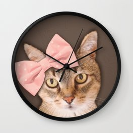 Brown Tabby Cat with Soft Pink Bow Wall Clock