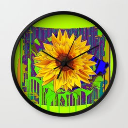 Yellow Sunflower Spring Yellow-Green Chartreues Modern Abstract Wall Clock