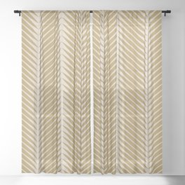 Palm Symmetry - Neutral Green Sheer Curtain