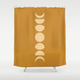 Minimal Moon Phases - Golden Orange Shower Curtain