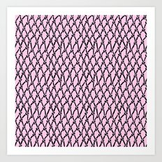 Fishing Net Black on Blush Art Print