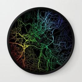 Santiago de Compostela, Spain, City, Map, Rainbow, Map, Art, Print Wall Clock