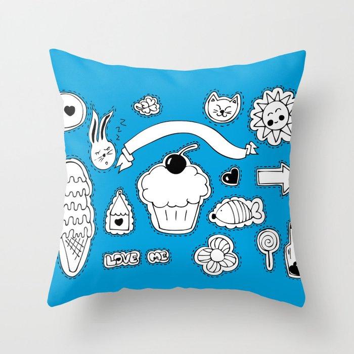 Sticker World Throw Pillow