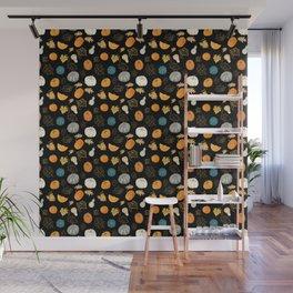 Halloween Pumpkins and Gold Leaf Pattern - black palette Wall Mural