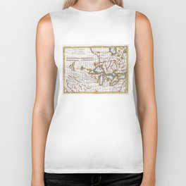 Vintage Map of The Great Lakes & Canada (1780) Biker Tank