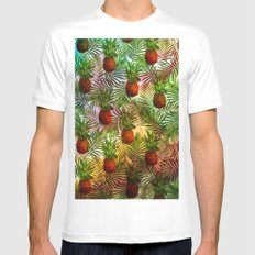 Pineapples - Tropical fruit watercolor illustration pattern MEDIUM Mens Fitted Tee White
