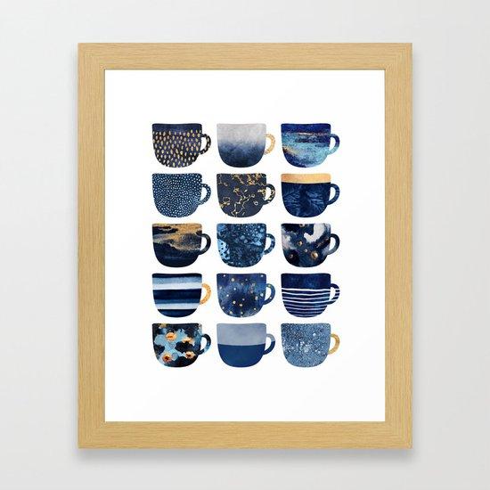 Pretty Blue Coffee Cups Framed Art Print by elisabethfredriksson ...