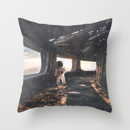 Astronaut in an Abandoned Building Throw Pillow
