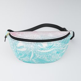 whimsy white floral mandala watercolor design Fanny Pack