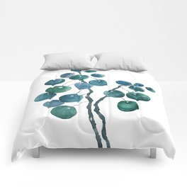 Chinese money plant watercolor Comforters