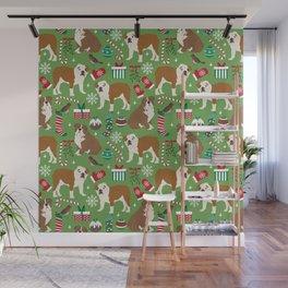 English Bulldog christmas pattern print pet friendly pet portrait dog art Wall Mural
