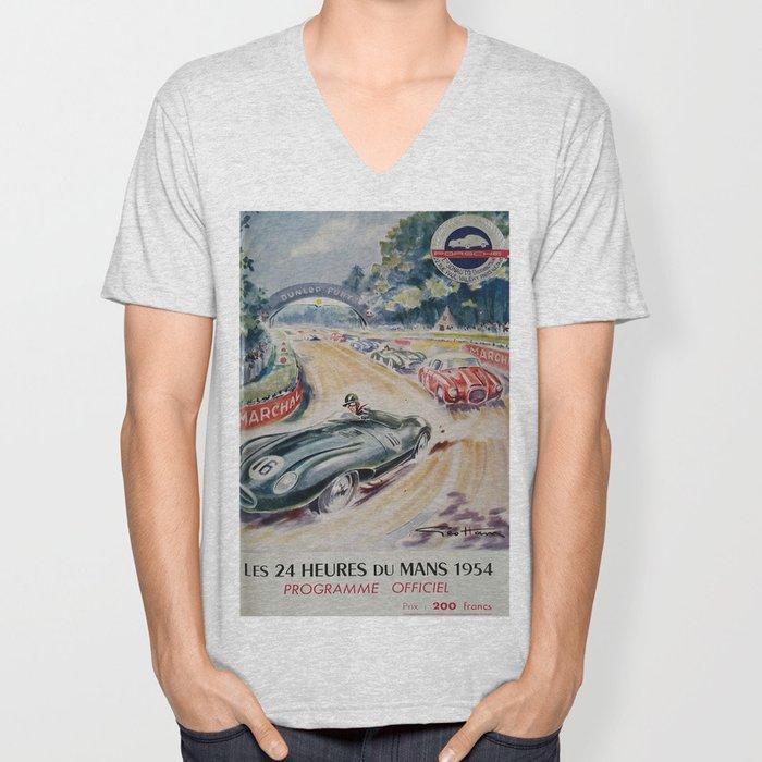 1954 Le Mans poster, Race poster, car poster, programme officiel Unisex V-Neck