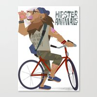 hipster lion Canvas Prints featuring hipster animals - lion bike by Dyna Moe