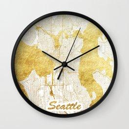 Seattle Map Gold Wall Clock
