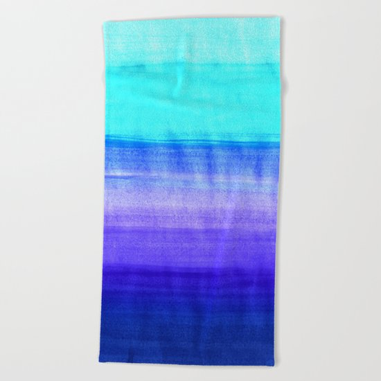 Ocean Horizon - cobalt blue, purple & mint watercolor abstract Beach Towel
